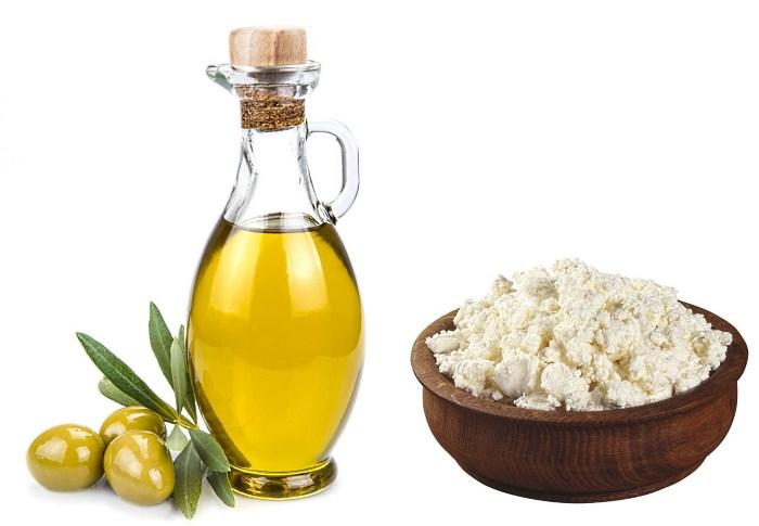 Масло оливы и творог